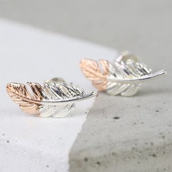 Silver Dipped in Rose Gold Feather Earrings