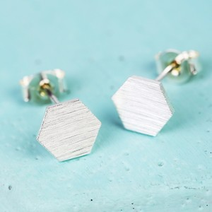 Hexagonal Silver Stud Earrings