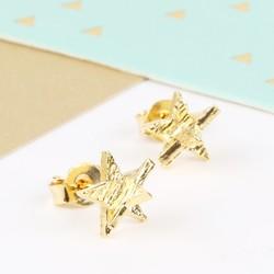 3D Gold Star Stud Earrings