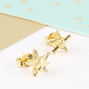 3D Gold Star Earrings