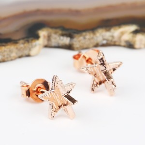 3D Rose Gold Star Earrings