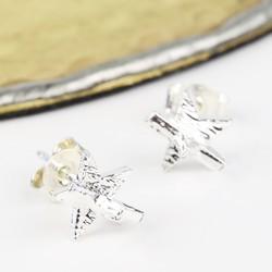 3D Silver Star Studs Earrings