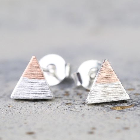 Tiny Silver Dipped in Rose Gold Triangle Stud Earrings