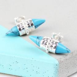 Tribal Turquoise Spike Stud Earrings