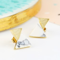 White Marble Double Triangle Stud Earrings