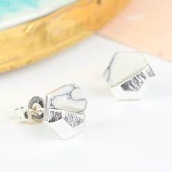 White Marble Hexagonal Stud Earrings