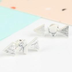 White Marble Triple Triangle Stud Earrings