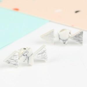White Howlite Triple Triangle Silver Earrings