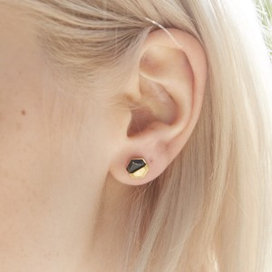 Black Howlite Hexagonal Gold Earrings