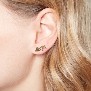 Brushed Gold Triple Triangle Stud Earrings