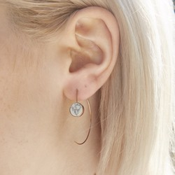 White Marble Disc Through Earrings in Rose Gold