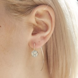 White Marble Disc Through Earrings in Silver
