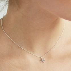Sterling Silver Diamante Snowflake Necklace