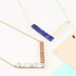 Personalised Semi-Precious Stone Chevron Necklace
