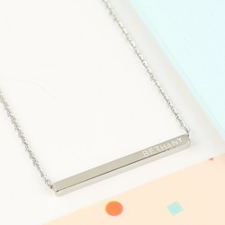 Personalised Thin Stainless Steel Shiny Horizontal Bar Necklace