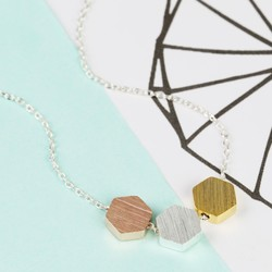 Brushed Mixed Metal Hexagonal Necklace