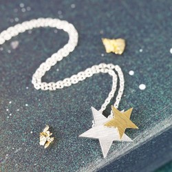 Starry Nights Brushed Silver and Gold Star Necklace