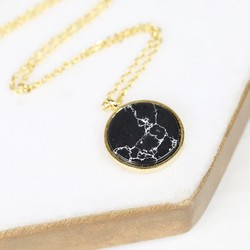 Gold and Black Marble Disc Pendant Necklace