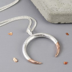 Long Silver Dipped in Rose Gold Horn Necklace