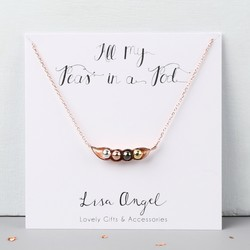 Rose Gold Four Peas in a Pod Necklace