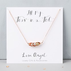 Rose Gold Three Peas in a Pod Necklace