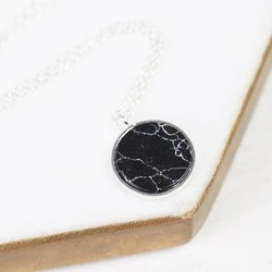 Silver and Black Marble Disc Pendant Necklace