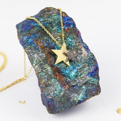 Starry Nights Brushed Gold and Black Star Necklace