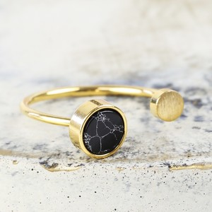 Black Marble Double Disc Gold Ring