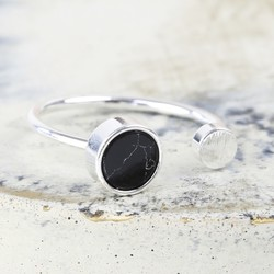 Black Marble Double Disc Silver Ring