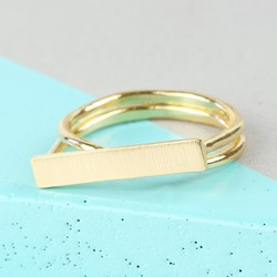 Gold Double Band Bar Ring