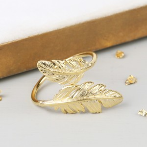 Gold Double Feather Ring