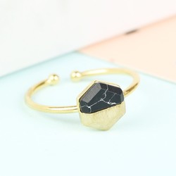 Hexagonal Black Marble Stone Ring in Gold