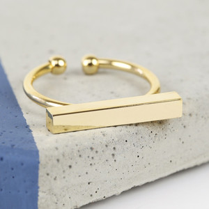 Shiny Gold Bar Rings