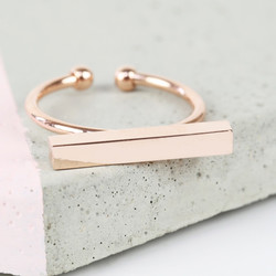 Shiny Rose Gold Bar Ring