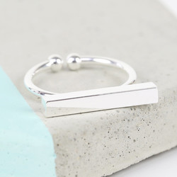 Shiny Silver Bar Ring