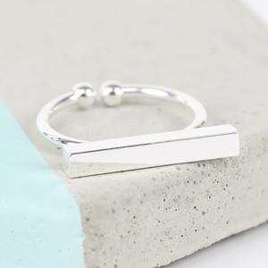 Shiny Silver Bar Rings