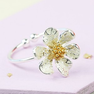 Adjustable Silver Flower Ring