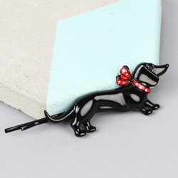 Black Enamel Sausage Dog Hair Slide