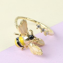 Bumblebee and Crystal Adjustable Ring in Gold