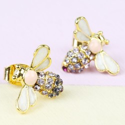 Bumblebee Stud Earrings in Gold