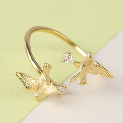 Double Swallow Adjustable Ring in Gold