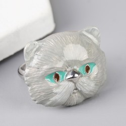 Large Grey Enamel Cat Ring
