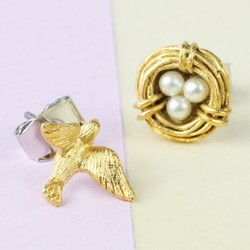 Nest and Swallow Stud Earrings in Gold