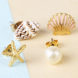 Set of Four Mismatched Nautical Beach Stud Earrings in Gold