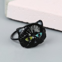 Small Black Enamel Cat Ring