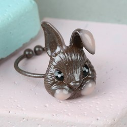 Small Brown Enamel Bunny Ring
