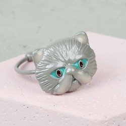 Small Grey Enamel Cat Ring