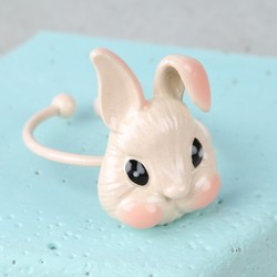 Small Ivory Enamel Bunny Ring