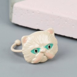 Small Ivory Enamel Cat Ring