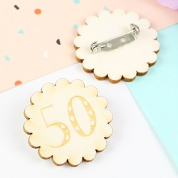 Engraved Wooden '50' Birthday Badge